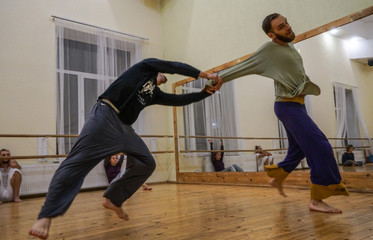 two dancers improvise. contemporary dance performing