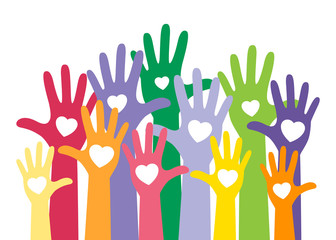 colorful up hands with heart, raise up for vote concept. Vector illustration isolated on white background