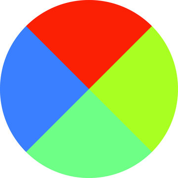 Colorful Pie chart Divided into four