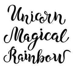 Handwritten Rainbow, Magical, Unicorn lettering. Vector design elements for Unicorn party, patch, stick cake toppers, laser cut plastic, wooden toppers. Text for banner, poster, birthday greeting card