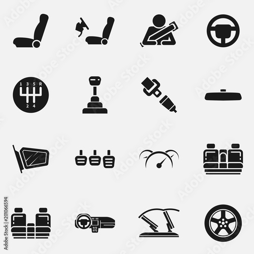 Set Of Car Interior Details Vector Icon Includes Seats Back Seats