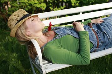 Woman relaxing in the garden,42 years