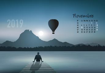 calendrier 2019 - calendrier - montgolfière - 2019 - paysage - novembre - année - mois - automne - jour férié