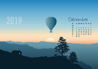 Papiers peints Bleu vert calendrier 2019 - calendrier - montgolfière - 2019 - paysage - décembre - année - mois - hiver - jour férié