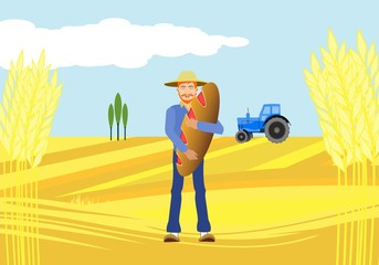 Countryside view vector countryside landscape background, man with bread, Agriculture theme, village. Concept image