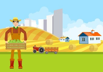 Countryside view vector countryside landscape background, city buildings, Agriculture theme, village.