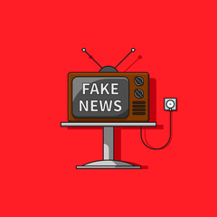 Television fake news cartoon concept line vector icon.