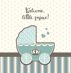 baby shower, blue vintage stroller with royal crown , illustration