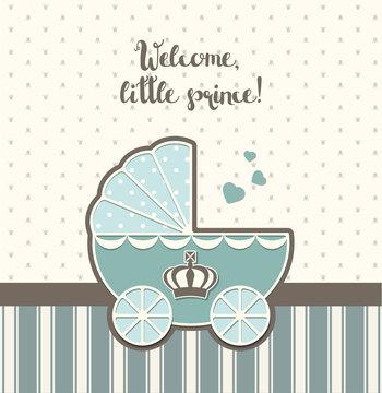baby shower, blue vintage stroller with royal crown , illustration