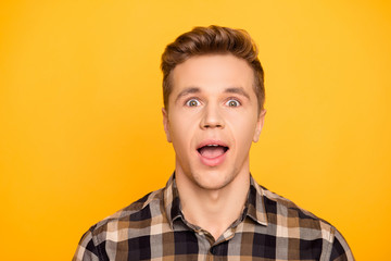 Miracle idea imagination fantasy magic rejoice delight people person good news secret entertainment concept. Close up portrait of excited joyful shocked handsome manager isolated on bright background