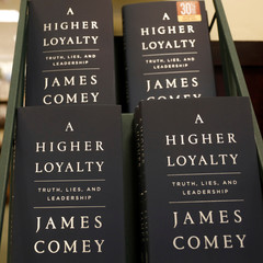 "Copies of Comey's book ""A Higher Loyalty"" are pictured in a book store in New York City"