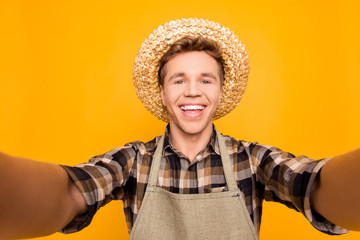 Sell seller internet roaming video-call people person florist redneck concept. Close up portrait of cheerful funky funny friendly glad handsome student looking at camera isolated on background
