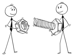 Cartoon stick man drawing conceptual illustration of two businessmen carrying big bolt and nut. Business concept of problem and solution.