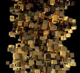 Abstract composition from 3d cubes with shadows. 3d rendering.