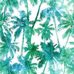 Foto op Canvas Aquarel Natuur seamless palm pattern