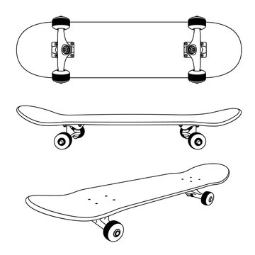 Classic skateboard view from the side, bottom and at an angle. Monochrome contour drawing.