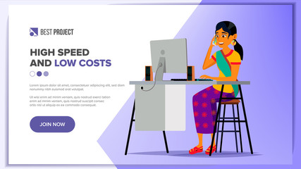 Website Design Template Vector. Business Background. Financial Statistics. Cartoon Team. Electronic Backdrop. Illustration