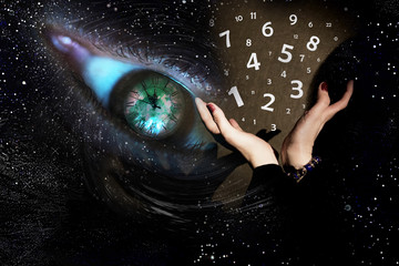 The world of numerology, hand and the flying figures