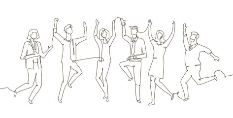 Business team celebrating - one line design style illustration