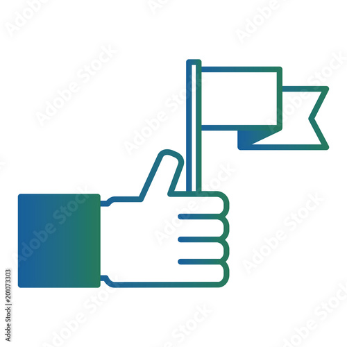 hand holding flag success win image vector illustration