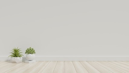 White empty room with plants on a floor,3D rendering