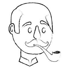bald man character face with mustache and smoking pipe vector illustration sketch
