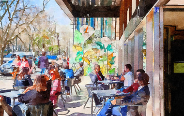 people in cafe of  Lisbon, watercolor style