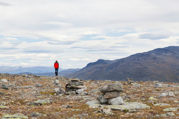 Male hiker looking out at mountain landscape, rear view, Jotunheimen National Park, Lom, Oppland, Norway