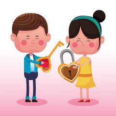 Cute couple in love cartoons vector illustration graphic design