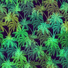 Exotic Seamless Pattern, Tropical Forest Landscape, Palms Trees Green Silhouettes on Black Tile Background. Vector