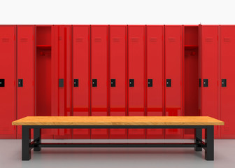 3d rendering. Red Lockers row with brown wood bench on gray floor.