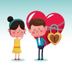 Cute couple in love cartoons vector illustration graphic design
