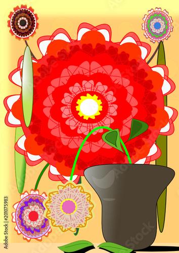 Jarrón con flores bonitas y espectaculares\