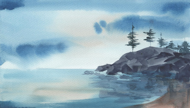 Watercolore landscape of the sea, rocks, pine trees against stomy sky. Hand drawn illustration.
