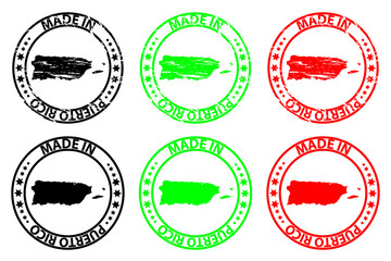 Made in Puerto Rico - rubber stamp - vector, Puerto Rico map pattern - black, green and red