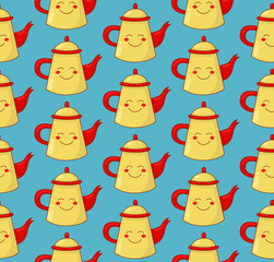 Teapot coffee pot with snile seamless vector pattern