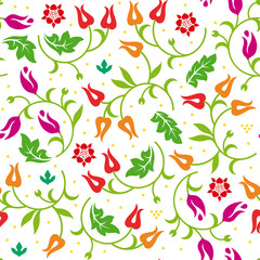 Floral seamless pattern with warm color scheme. Vector illustration.