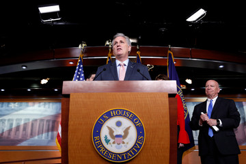 House Majority Leader Kevin McCarthy (R-CA) speaks during a media briefing after the House Republican conference in Washington
