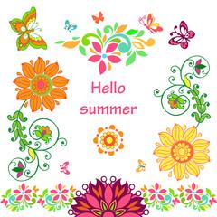 Vector set of flowers and butterflies. Hello summer.