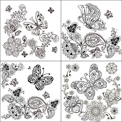 Set of Hand drawn butterfly zentangle style. Coloring book for kids and adults. Decorative butterfly with floral ornament for anti Stress Coloring.