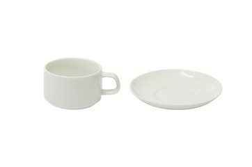 separate white coffee cup and plate isolated on white background with clipping path.