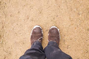 Mans legs wearing boots