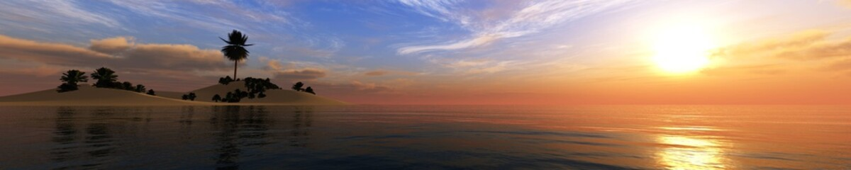 beautiful sea sunset, panorama of the sea landscape sun over the water, island with a palm tree