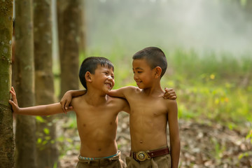 Children's in green nature in agricultural areas.Asia children in the forest at countryside.