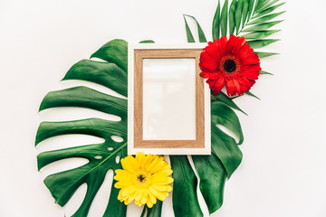 Flat lay tropical leaves with frame. Mock up background.Tropical Botanical nature concepts design.