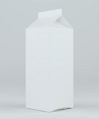 Milk or juice carton packaging package box white blank. 3d rendering.