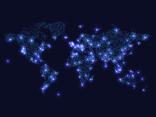 World map. Blue earth map from round dots on dark background. Vector illustration.