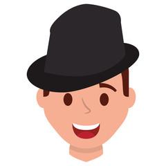 happy man face with elegant hat vector illustration