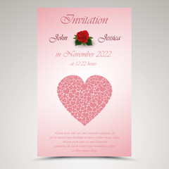 Wedding announcement with red hearts and roses