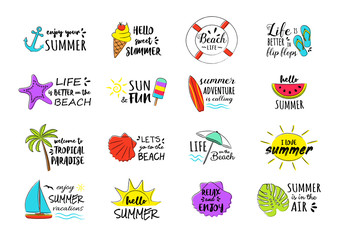 Funny summer icons - colourful set. Vector.